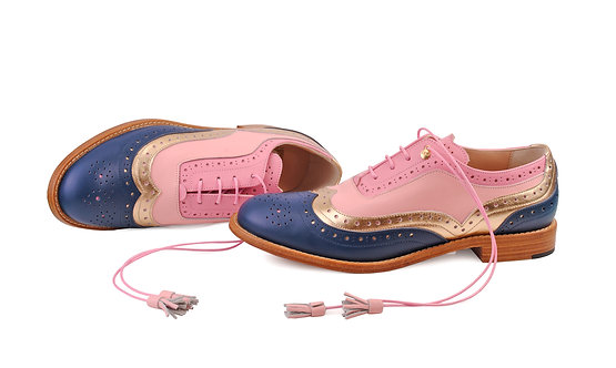 Navy Blue Gold & Pink Dolly ABO Brogues (made to order)
