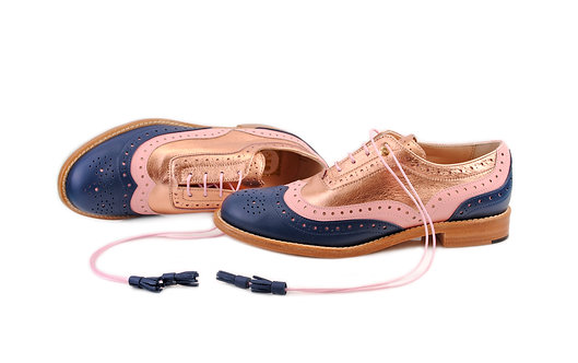 Navy Blue Pink & Gold Rose Dolly ABO Brogues