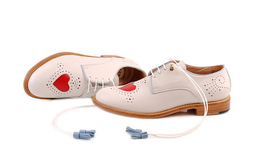 Creamy white Heart ABO Brogues (made to order)