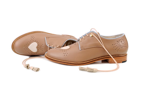 Light Brown Heart ABO Brogues (made to order)