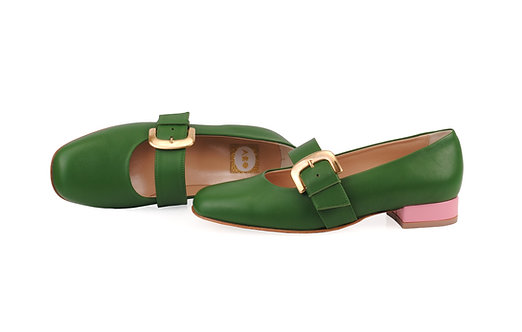 Emerald Green & Pink ABO Dorothy Pumps (made to order)