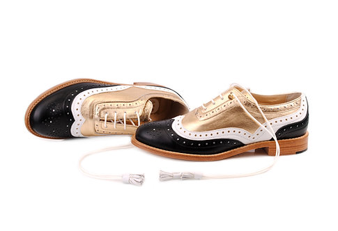 Black White & Gold Dolly ABO Brogues (made to order)