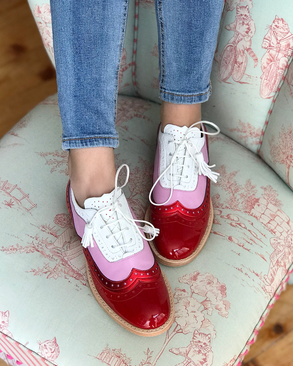 Red pink and white Dolly ABO Brogues
