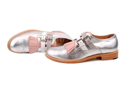 Silver & Pale Pink ABO Monk Fringed Brogues (made to order)