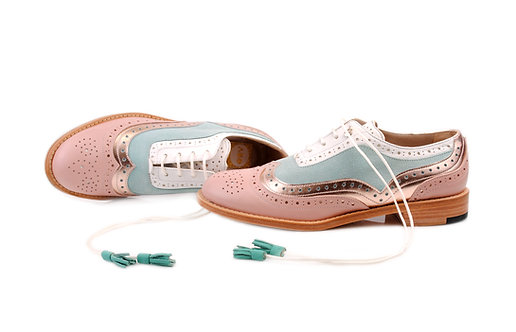 Beige Gold Rose Mint & White Dolly ABO Brogues (made to order)