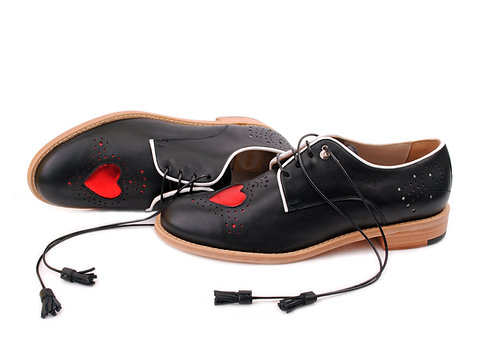 Black & Red Heart ABO Brogues (made to order)