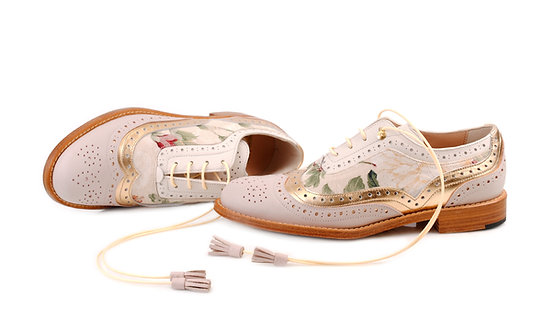 Cappuccino Beige Gold & Floral Dolly ABO Brogues (made to order)
