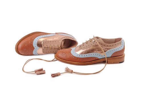 Brown Ice Blue & Gold Rose Dolly ABO Brogues