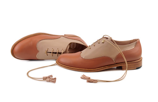 Camel & Light Brown Doll ABO Colour Block Brogues (made to order)