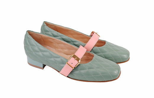Green & Pink ABO Stephanie Pumps