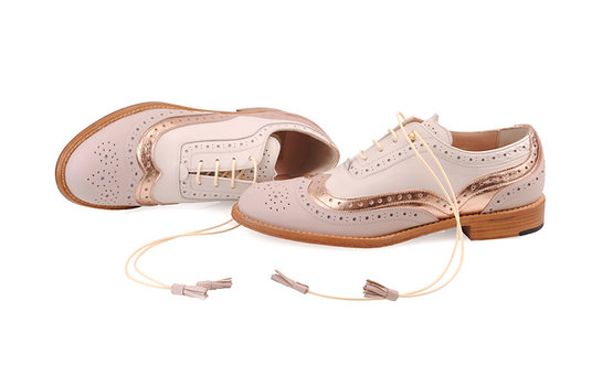 Cappuccino Beige & Gold Rose Dolly ABO Brogues (made to order)