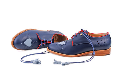 Navy Blue Heart ABO Brogues (made to order)