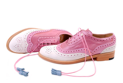 White & Pink Dolly ABO Brogues (made to order)