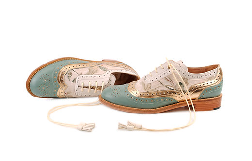 Green Light Beige Gold and Floral Dolly ABO Brogues (made to order)