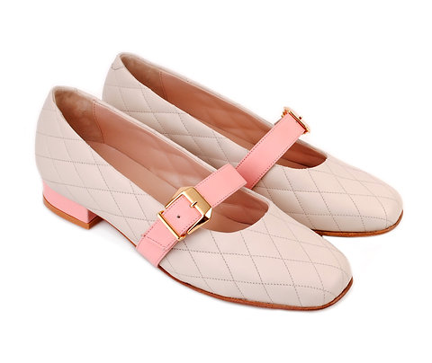 Cream & Pink ABO Stephanie Pumps
