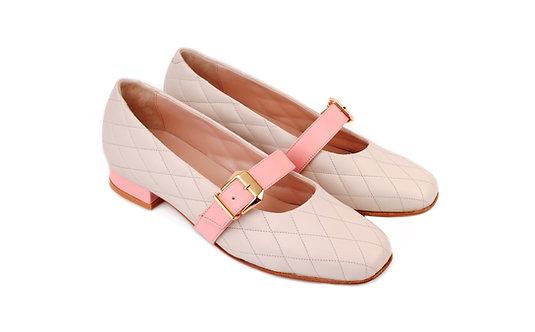 Cream & Pink ABO Stephanie Pumps