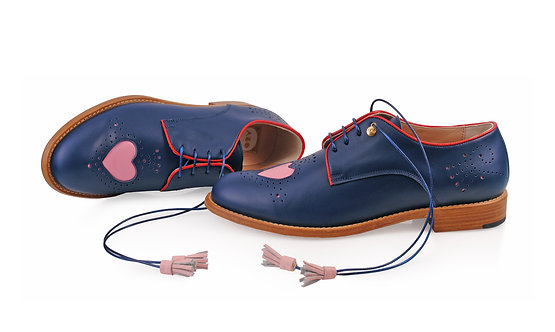 Navy Blue & Pink Heart ABO Brogues (made to order)