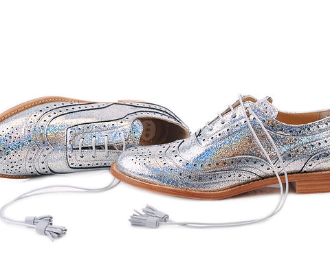 Holographic Silver ABO Dolly Brogues (made to order)