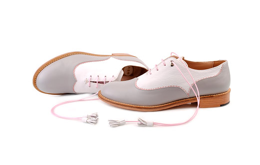 Grey & White Doll ABO Colour Block Brogues