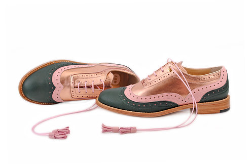 Green Pink & Rose Gold ABO Dolly Brogues (made to order)