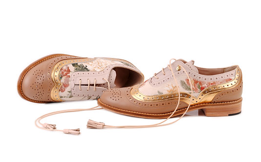 Brown Floral Dolly ABO Brogues (made to order)