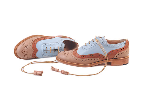 Light Brown Ochre & Ice Blue Dolly ABO Brogues (made to order)