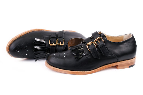 Black ABO Monk Fringed Brogues (made to order)