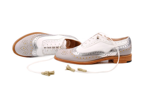 Grey Silver & White Dolly ABO Brogues (made to order)