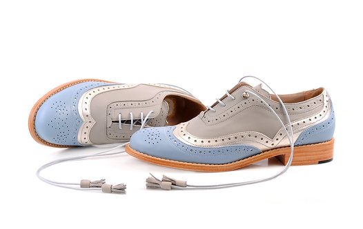 Blue Silver & Grey Dolly ABO Brogues