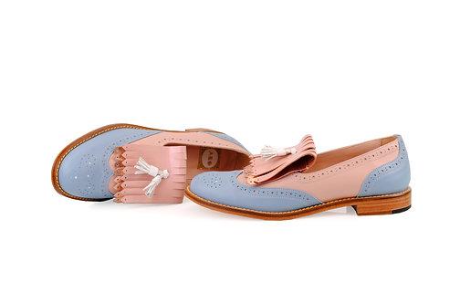 Blue & Powder Beige ABO Kiltie Loafers