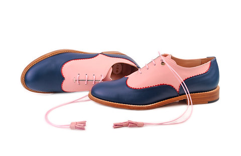 Navy Blue & Pale Pink Doll ABO Colour Block Brogues (made to order)