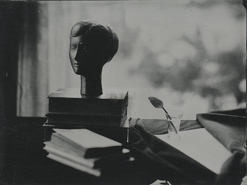 Woman's head, tintype 18x24 cm
