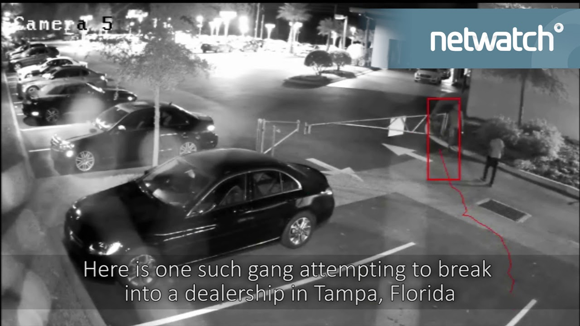 Netwatch In Action - Intruders attempting to steal cars from auto dealership