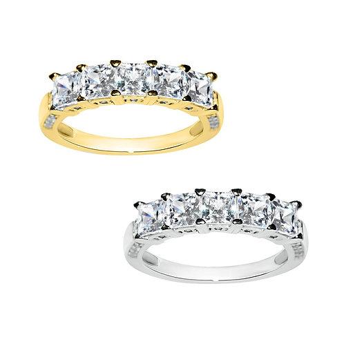14k Yellow or White Gold 2ct TGW Princess-cut Diamonette 5-Stone Ring
