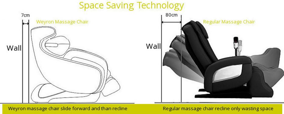 Massage chair space saving
