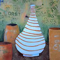 Les pots à secrets 2015 acrylique sur toile susanne tanguay artiste peintre