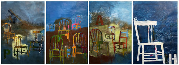 Quatre-saisons-en-chaises-majeures-oeuvre contemporaine de-l-artiste-Susanne-Tanguay