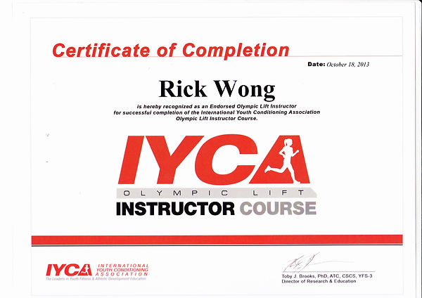 Image of Rick's Olympic Lift Instructor Certification.