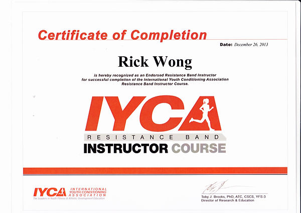 Image of Rick Wong's Resistance Band Instructor Certificate