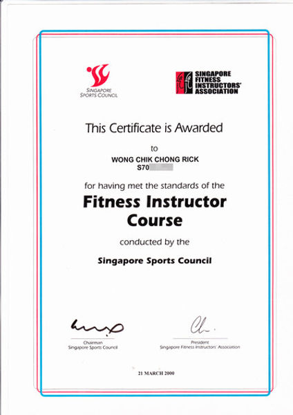 Image of Singapore Fitness Instructor Certificate