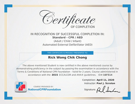 Image of Rick Wong's CPR Certification