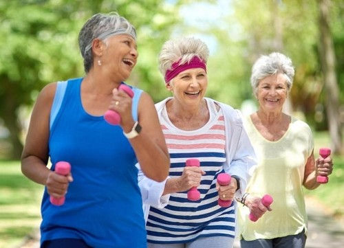 Image of a group of senior ladies exercising outdoors.