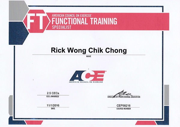 Image of Rick Wong's Functional Training Specialist Certificate
