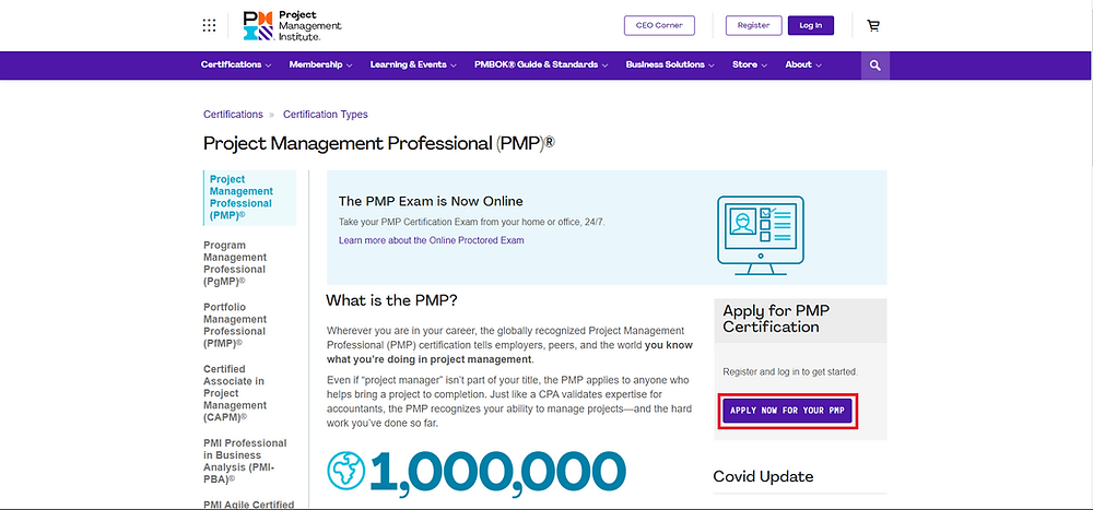 Apply Now Button - PMP Certification