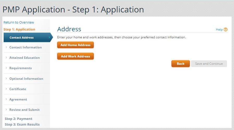 PMP Application Step 1 image
