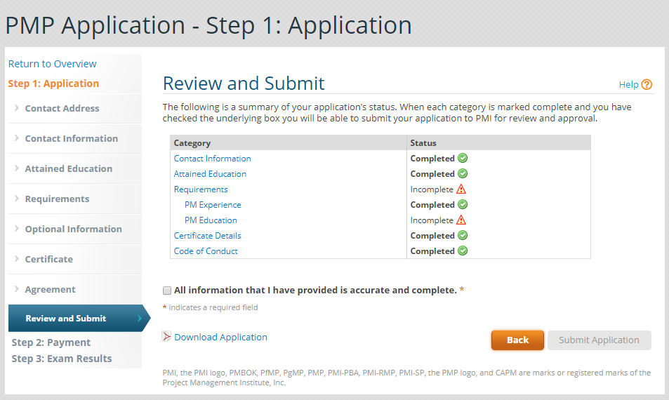 PMP Applicaiton - Review and Submit Image
