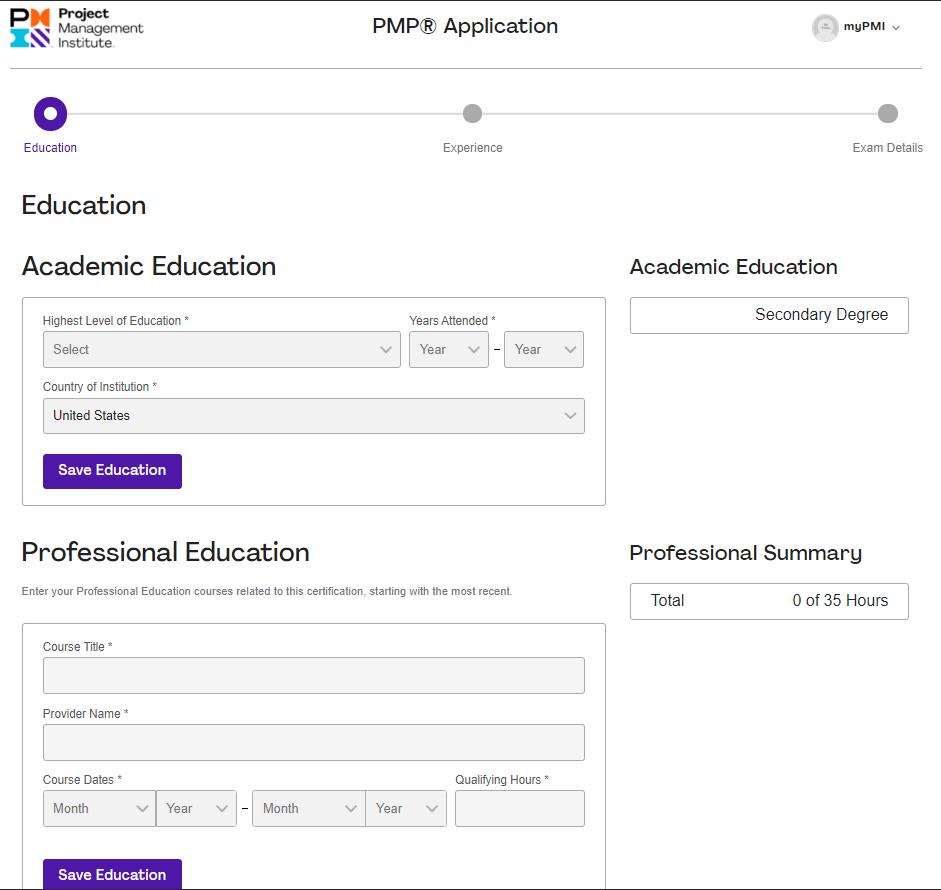 Education Verification - PMP Application