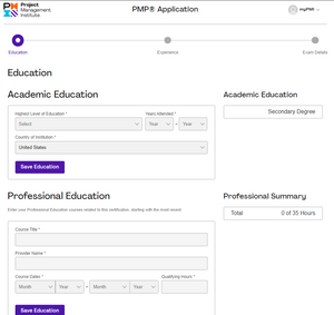 Education Verification - PMP Application
