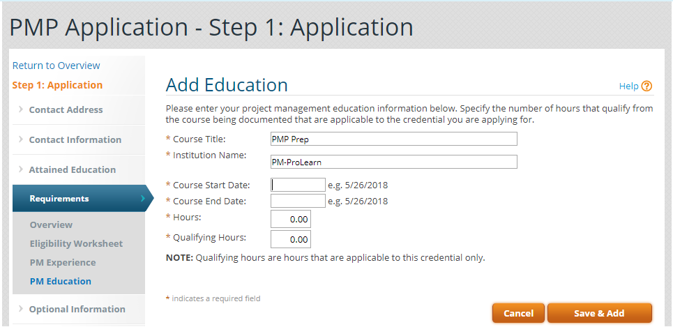Add education PMP Application image