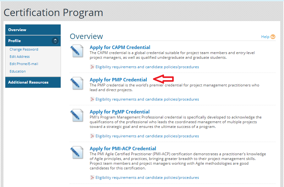 Apply for PMP Credential Image